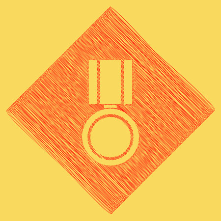 award winning: Medal sign illustration. Vector. Red scribble icon obtained as a result of subtraction rhomb and path. Royal yellow background.
