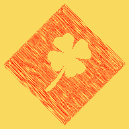 Leaf clover sign. Vector. Red scribble icon obtained as a result of subtraction rhomb and path. Royal yellow background. Illustration
