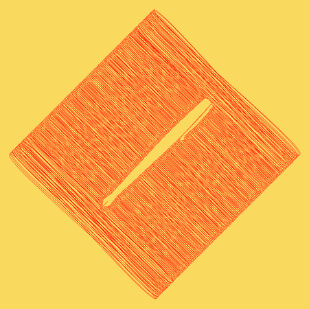 Pen sign illustration. Vector. Red scribble icon obtained as a result of subtraction rhomb and path. Royal yellow background. Illustration