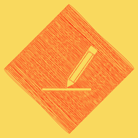 subtraction: Pencil sign illustration. Vector. Red scribble icon obtained as a result of subtraction rhomb and path. Royal yellow background. Illustration