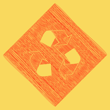 rubbish cart: Recycle logo concept. Vector. Red scribble icon obtained as a result of subtraction rhomb and path. Royal yellow background.