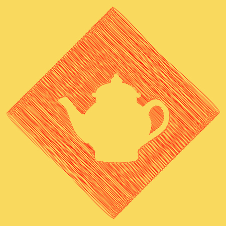 Tea maker sign. Vector. Red scribble icon obtained as a result of subtraction rhomb and path. Royal yellow background. Illustration