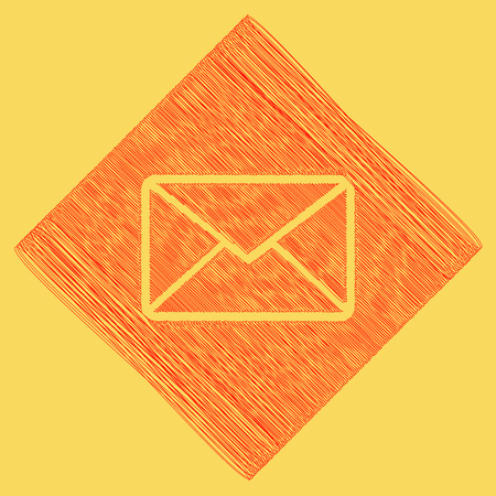 Letter sign illustration. Vector. Red scribble icon obtained as a result of subtraction rhomb and path. Royal yellow background.
