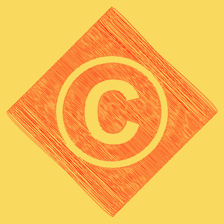 Copyright sign illustration. Vector. Red scribble icon obtained as a result of subtraction rhomb and path. Royal yellow background.