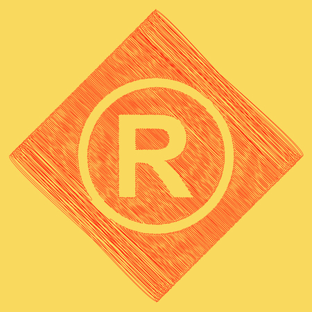 trademark: Registered Trademark sign. Vector. Red scribble icon obtained as a result of subtraction rhomb and path. Royal yellow background.