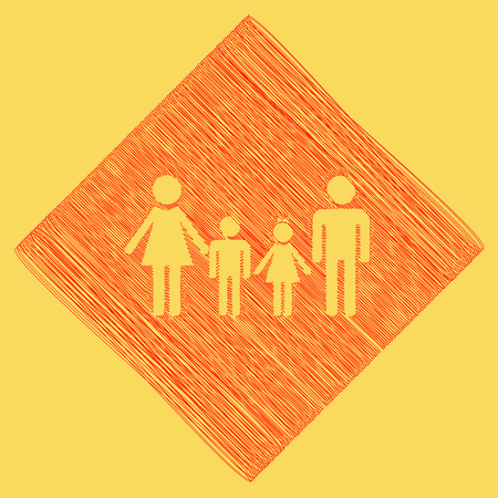 Family sign. Vector. Red scribble icon obtained as a result of subtraction rhomb and path. Royal yellow background.