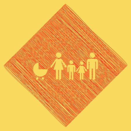 Family sign illustration. Vector. Red scribble icon obtained as a result of subtraction rhomb and path. Royal yellow background.
