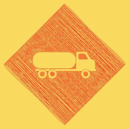 subtraction: Car transports sign. Vector. Red scribble icon obtained as a result of subtraction rhomb and path. Royal yellow background.