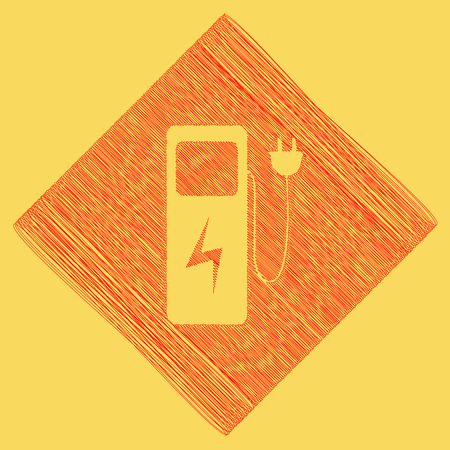 Electric car charging station sign. Vector. Red scribble icon obtained as a result of subtraction rhomb and path. Royal yellow background. Illustration