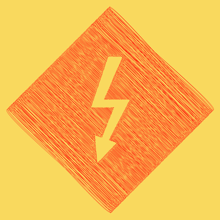 yellow beware: High voltage danger sign. Vector. Red scribble icon obtained as a result of subtraction rhomb and path. Royal yellow background.