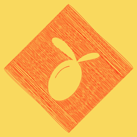 cooking oil: Olive sign illustration. Vector. Red scribble icon obtained as a result of subtraction rhomb and path. Royal yellow background. Illustration