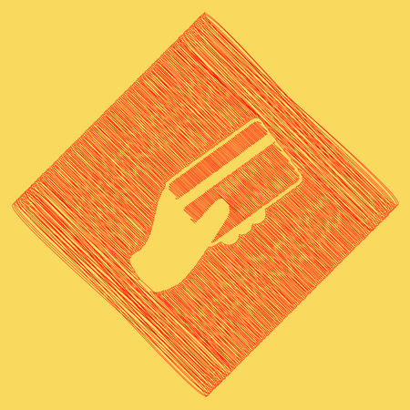 paying: Hand holding a credit card. Vector. Red scribble icon obtained as a result of subtraction rhomb and path. Royal yellow background.