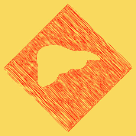 subtraction: Human anatomy. Liver sign. Vector. Red scribble icon obtained as a result of subtraction rhomb and path. Royal yellow background.