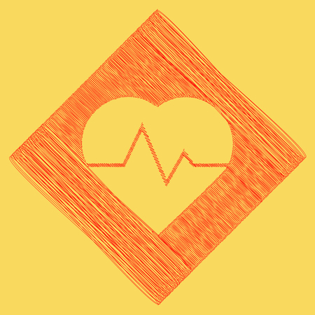 Heartbeat sign illustration. Vector. Red scribble icon obtained as a result of subtraction rhomb and path. Royal yellow background.