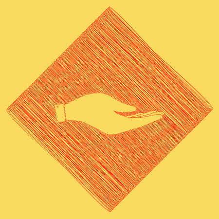 Hand sign illustration. Vector. Red scribble icon obtained as a result of subtraction rhomb and path. Royal yellow background.