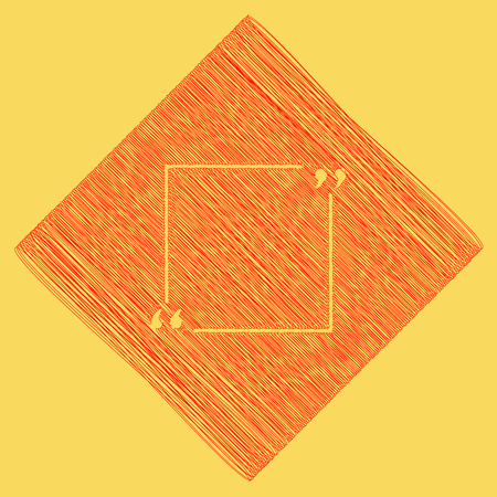 subtraction: Text quote sign. Vector. Red scribble icon obtained as a result of subtraction rhomb and path. Royal yellow background. Illustration
