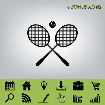 Two tennis racket with ball sign. Vector. Black icon at gray background with bonus icons at celery ones Ilustração