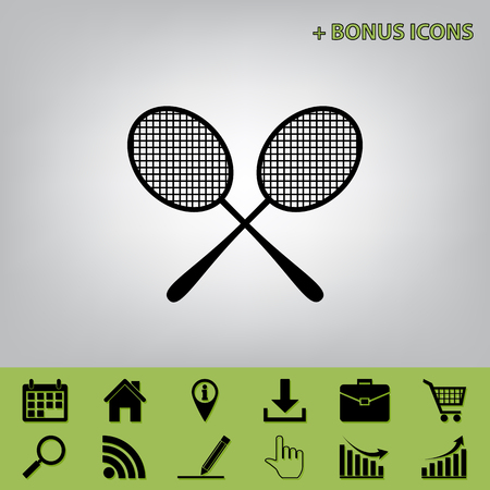 Two tennis racket sign. Vector. Black icon at gray background with bonus icons at celery ones
