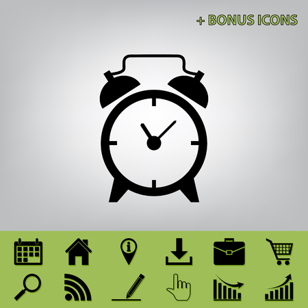 Alarm clock sign. Vector. Black icon at gray background with bonus icons at celery ones