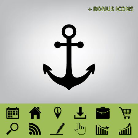 Anchor icon. Vector. Black icon at gray background with bonus icons at celery ones Stock Illustratie