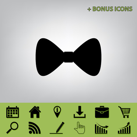 Bow Tie icon. Vector. Black icon at gray background with bonus icons at celery ones