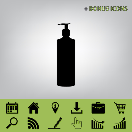 Gel, Foam Or Liquid Soap. Dispenser Pump Plastic Bottle silhouette. Vector. Black icon at gray background with bonus icons at celery ones