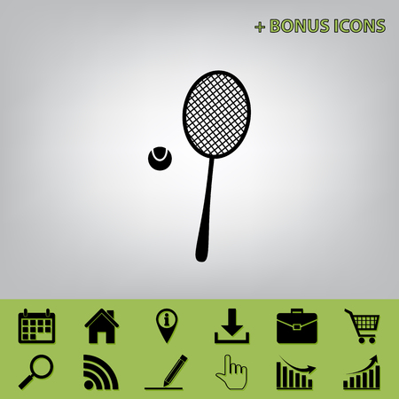 Tennis racquet with ball sign. Vector. Black icon at gray background with bonus icons at celery ones