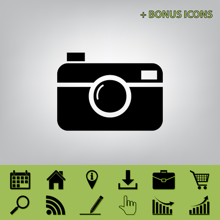 whim: Digital photo camera sign. Vector. Black icon at gray background with bonus icons at celery ones Illustration