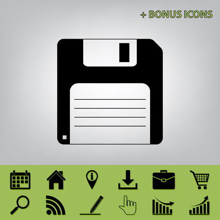 Floppy disk sign. Vector. Black icon at gray background with bonus icons at celery ones Stock Illustratie