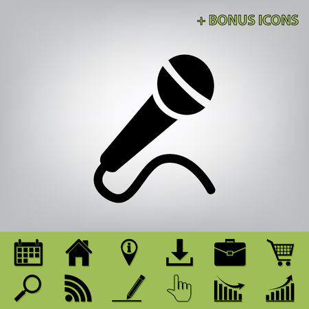 amplification: Microphone sign illustration. Vector. Black icon at gray background with bonus icons at celery ones