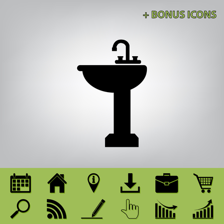 Bathroom sink sign. Vector. Black icon at gray background with bonus icons at celery ones