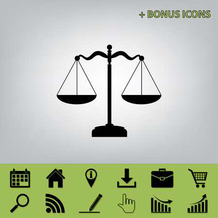 justice scale: Scales balance sign. Vector. Black icon at gray background with bonus icons at celery ones
