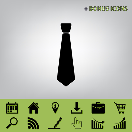 Tie sign illustration. Vector. Black icon at gray background with bonus icons at celery ones
