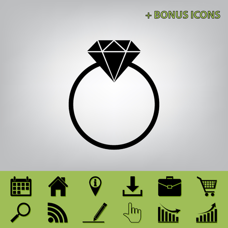 Diamond sign illustration. Vector. Black icon at gray background with bonus icons at celery ones