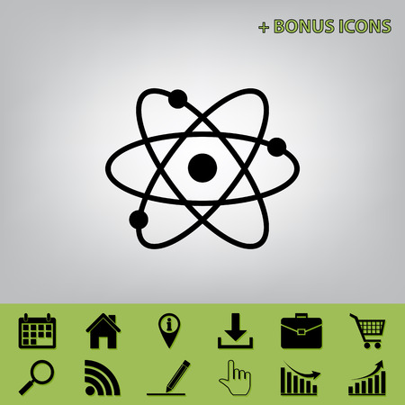Atom sign illustration. Vector. Black icon at gray background with bonus icons at celery ones