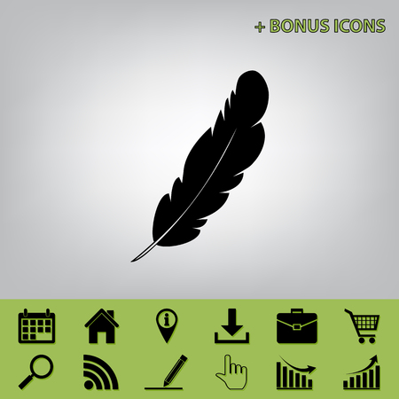 poet: Feather sign illustration. Vector. Black icon at gray background with bonus icons at celery ones