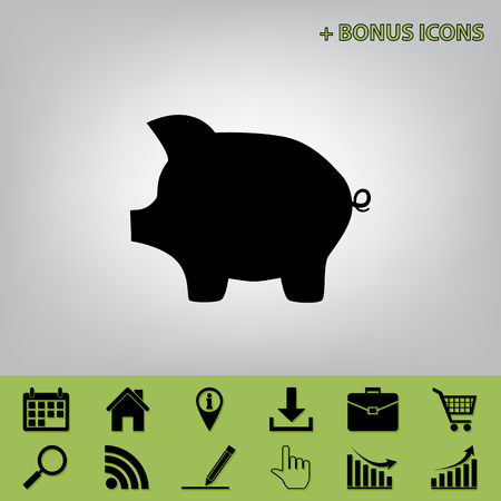 Pig money bank sign. Vector. Black icon at gray background with bonus icons at celery ones Illustration
