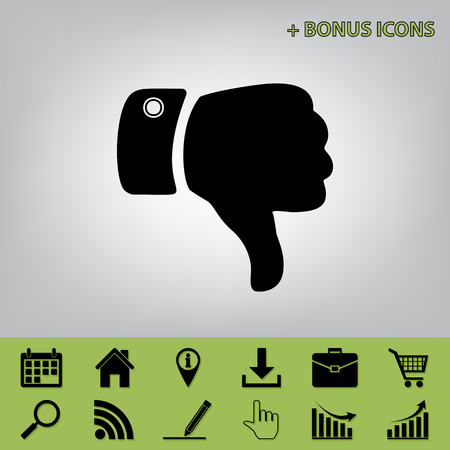 rejected: Hand sign illustration. Vector. Black icon at gray background with bonus icons at celery ones