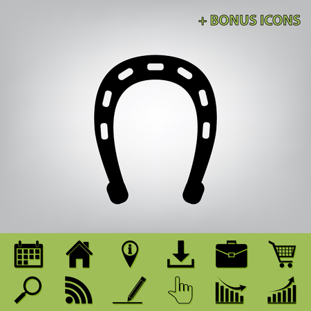 Horseshoe sign illustration. Vector. Black icon at gray background with bonus icons at celery ones Stock Illustratie