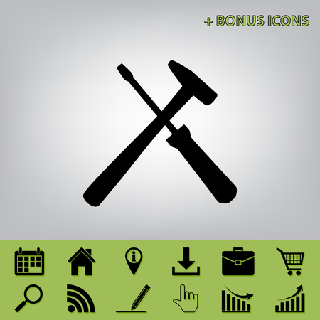Tools sign illustration. Vector. Black icon at gray background with bonus icons at celery ones