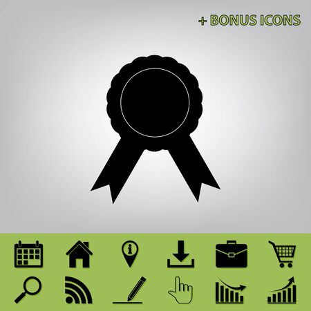 advantages: Label sign ribbons. Vector. Black icon at gray background with bonus icons at celery ones