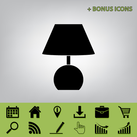 antique furniture: Lamp sign illustration. Vector. Black icon at gray background with bonus icons at celery ones