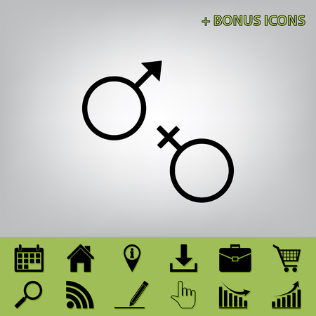 セックス シンボル サイン。ベクトル。セロリのものでボーナス アイコンと灰色の背景に黒のアイコン
