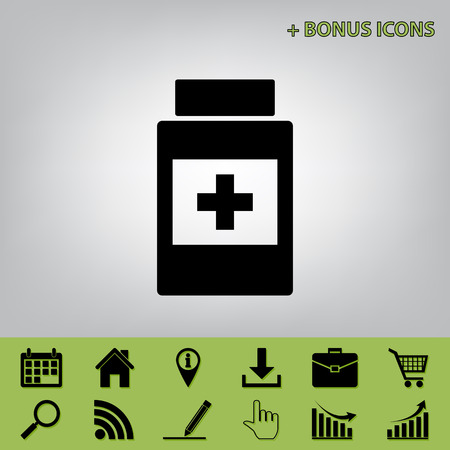 medical distribution: Medical container sign. Vector. Black icon at gray background with bonus icons at celery ones