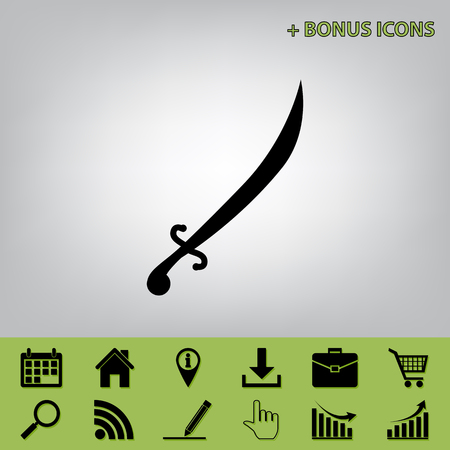 roman soldier: Sword sign illustration. Vector. Black icon at gray background with bonus icons at celery ones Illustration