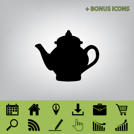 Tea maker sign. Vector. Black icon at gray background with bonus icons at celery ones