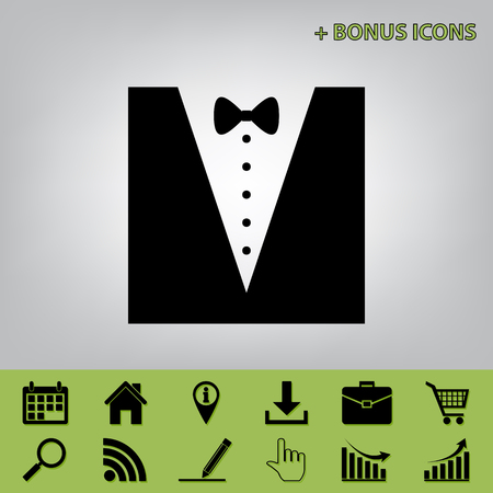 Tuxedo with bow silhouette. Vector. Black icon at gray background with bonus icons at celery ones Illustration