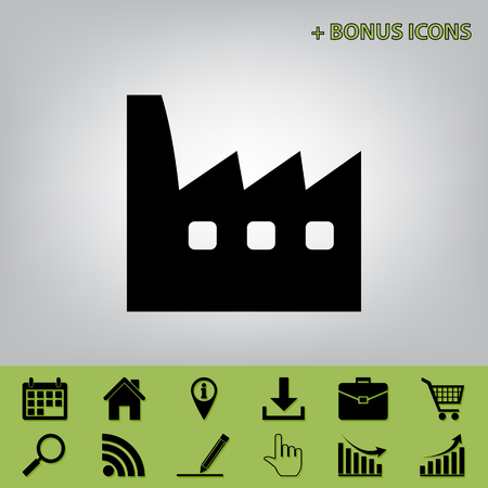 Factory sign illustration. Vector. Black icon at gray background with bonus icons at celery ones Illustration