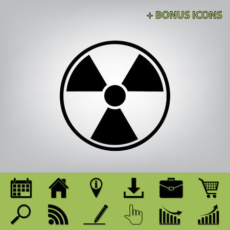 Radiation Round sign. Vector. Black icon at gray background with bonus icons at celery ones Illustration