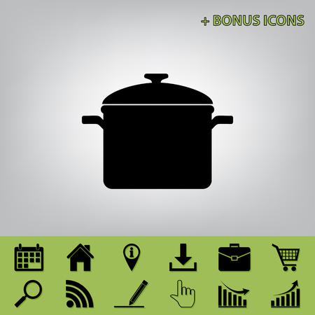 Cooking pan sign. Vector. Black icon at gray background with bonus icons at celery ones